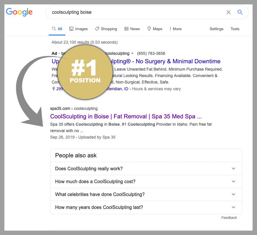 #1 Google ranking for top keywords SEO boise idaho