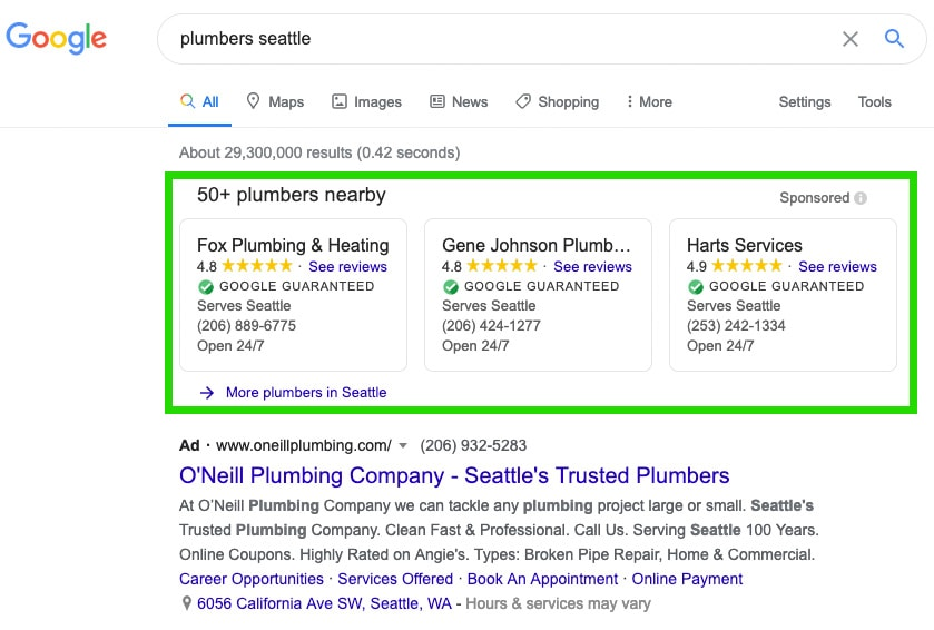 Google Guarantee PPC ad placements for plumbers
