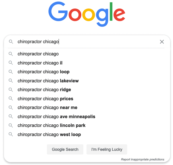 chiropractor chicago search terms