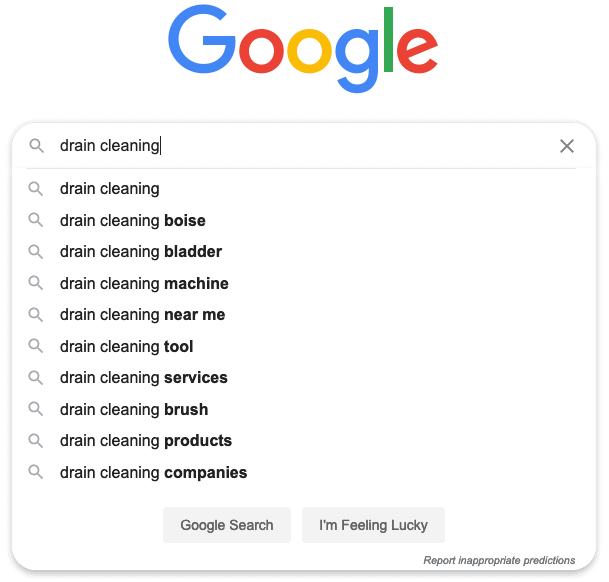 google search for drain cleaning