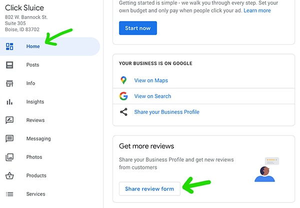 how to send a google review link