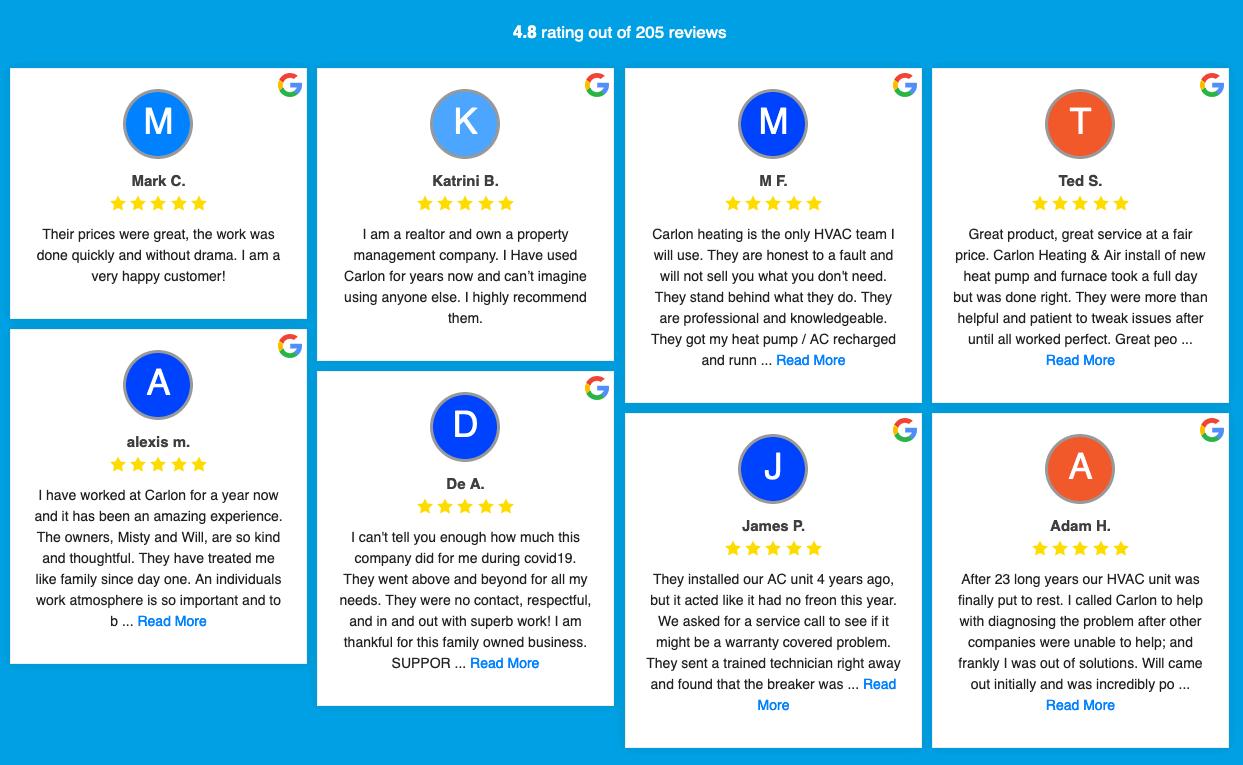 HVAC reviews on website