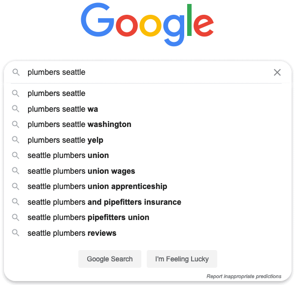 plumbers Seattle Google search