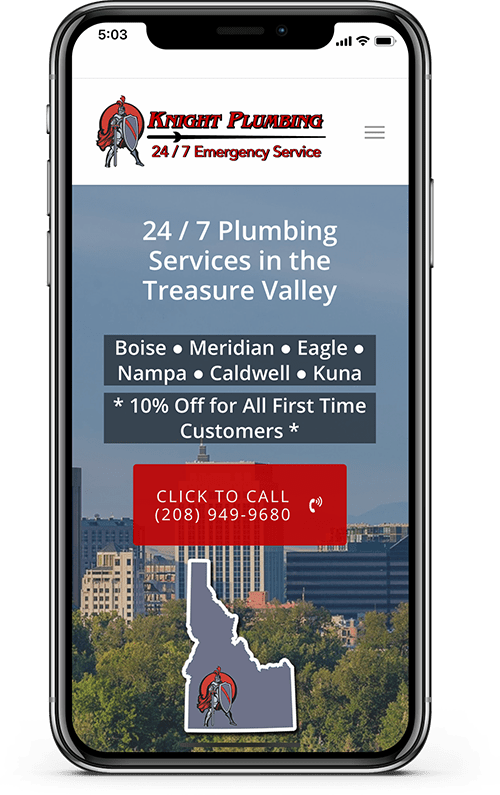 plumbing company mobile website