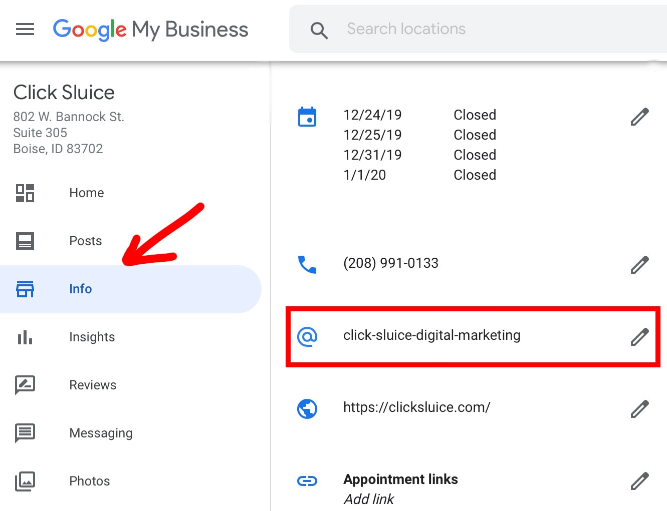 edit Google Business profile short name