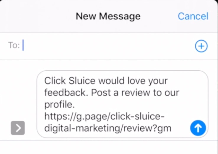 send Google review link through text message