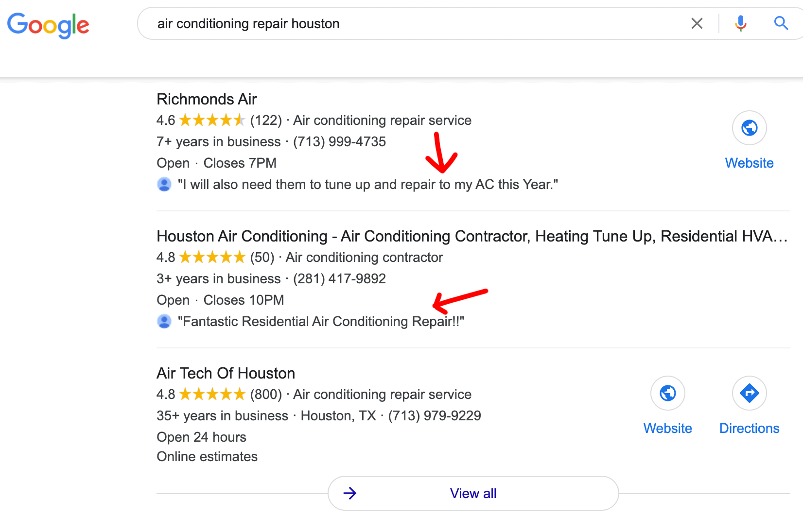 Reviews showing in Google Maps 3 pack